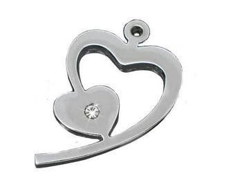 Silver Rhinestone Heart pendant