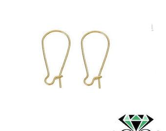 x10 dormeuses (5 paires) boucles d'oreille dorées 25mm x11mm