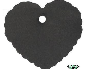 x 10 black heart cardboard tags for gift wrapping