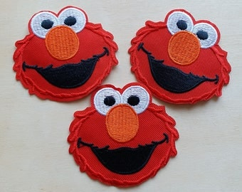 A dozen 12pcs Sesame Street Elmo Red applique machine embroidery cloth patch