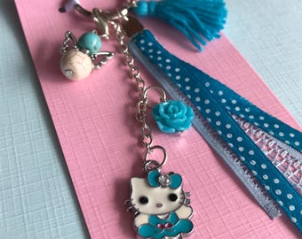 Blue Hello Kitty Keychain/bags pendant with geluksengel, Ribbon and bead
