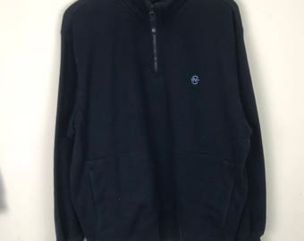 Rare!!! Nautica Sweatshirt Pullover Small Logo Embroidery Half Zipper Double Pockets Jumper