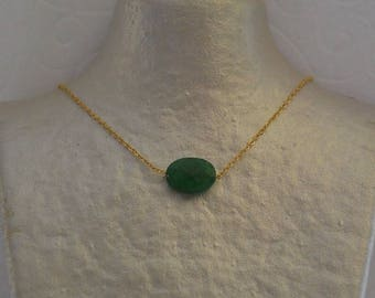 Jade cushion Hunter Green and gold chain necklace