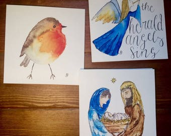 Illustrated Christmas Cards- robin, nativity and angel