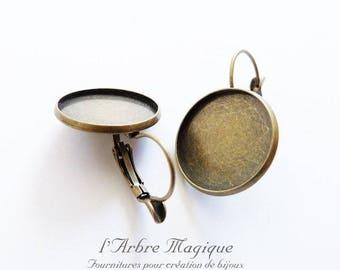 4 support sleeper earrings cabochon 16 mm bronze