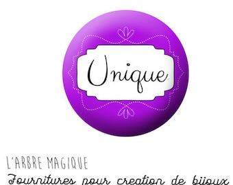 2 cabochons glue Message Unique violet ref 1427 - 18 mm