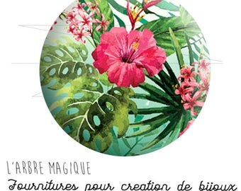Glass cabochon 25 mm large tropical flower tropical flower/plant tropical Hawaii ref 1921