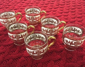 Set of 6 vintage Hollywood Regency glass coffee cups with gilded handles
