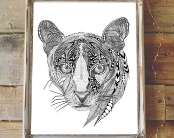 Cougar pen and ink illustration print limited edition signed and numbered