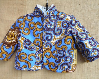 Jacket reversible fleece baby 3 to 18 months, fabric, and blue wax African fabric
