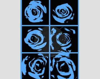 A1 Poster of Roses with Blue Background