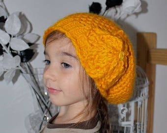 Orange hat for kids with double flowers