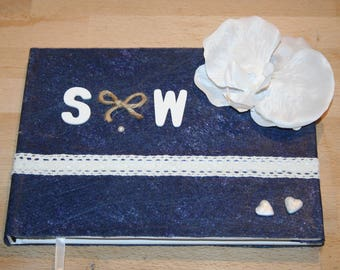 Navy Blue wedding anniversary guest book and white lace personalized Orchid