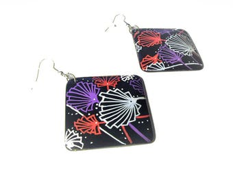 Boucles d'oreille ethniques,  Japon, boucles d'oreille, pendants d'oreilles, dormeuses,  créateur, peint-main,