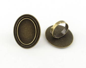 4 ring bronze cabochon 18 x 25 mm
