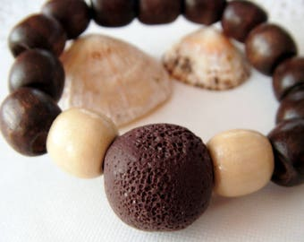 Pearl bracelet, brown/beige polymer clay and wood, Moe jewelry