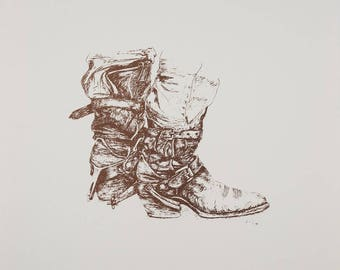 Brown pen and ink drawing of cowboys boots