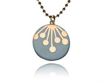 Porcelain ball chain necklace pendant round decorative motif: Umbel gold on turquoise