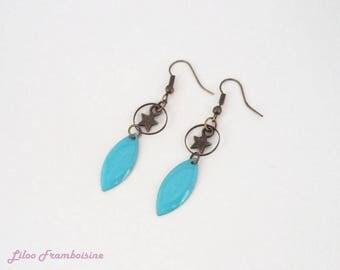 Earrings aqua blue enamel shuttle bronze