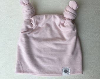 Double Topknot Beanie in Blush