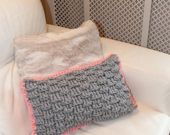 Grey and Bright Pink Decorative  Crochet Cushion