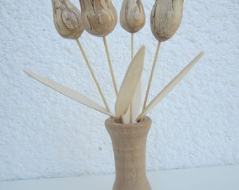Bouquet of tulips in vase wooden. Say it with flowers.