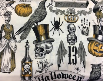 Halloween fabric, spider fabric, Halloween fabric by the yard, halloween cotton fabric, cotton fabric by the yard, skull fabric, halloween