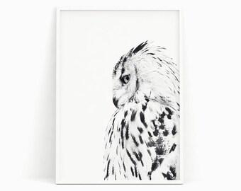 White owl poster, Black and white photograph, Scandinavian print, Minimalist, Scandinavian poster, Scandinavian art, Nordic print