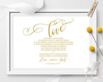 Love is patient, Love is kind, 1 Corinthians 13:4-8, Bible Verse art print, Wedding Art, Christian wall art, Gold Color, wedding decor
