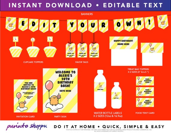 Ben noto Gudetama Birthday Party Printables INSTANT DOWNLOAD Fully CM16