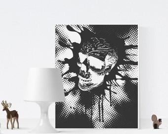 Skull Printable Poster, Skull print, Skull art print, Modern art, Printable gift, Skull wall art, Adventure print, Guest room art, Skull art