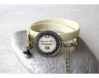 """happy mother's day"" ivory bracelet for mother's day"