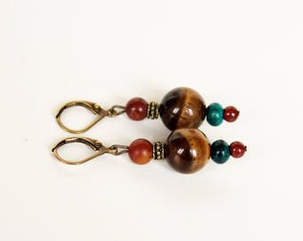 Pearl Earrings mineral Œils of Tiger Chrysocolla Jasper Picasso earrings ethnic African