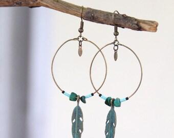 Blue brass feather earrings