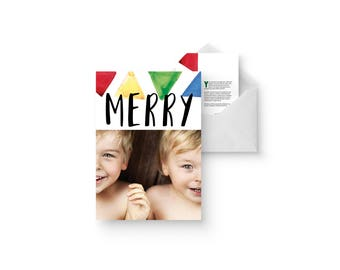 watercolor triangles holiday photo card
