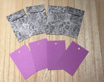Purple gift tags with envelopes