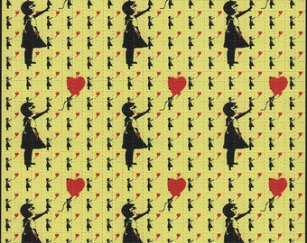 Banksy Ballon Girl Yellow 9 Panel - Blotter art