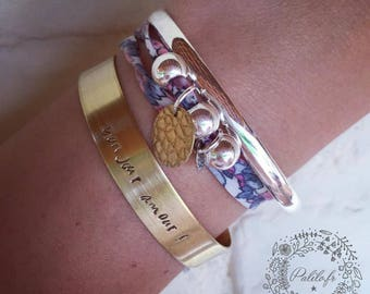 Bangle Bracelet with personalized engraving by Palilo jewelry brass cuff