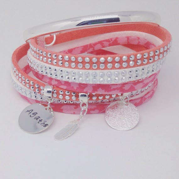 Personalized jewelry - Liberty of London with custom engraving coral multi strand Bracelet - Palilo jewelry