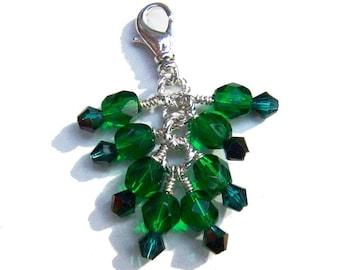 Emerald Green Crystal Beaded Zipper Pull Pendant