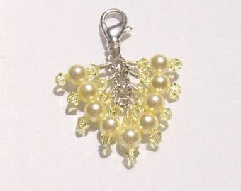 Jonquil Yellow Pearl Crystal Beaded Zipper Pull Pendant
