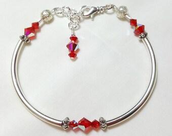 Ruby Red Crystal Bangle Style Bracelet