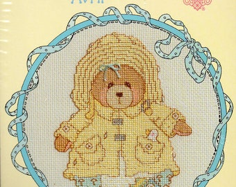Cherished Teddies Roly Poly April Counted Cross Stitch Kit
