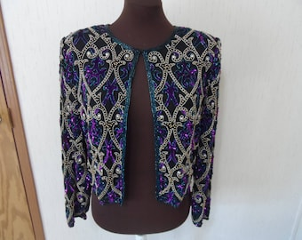 laurence Kazar beaded jacket, size large,