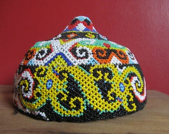 Ceremonial beaded hat from Bornea