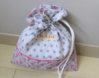 Pouch bag, laundry or lingerie to order, storage, fully lined in cotton, made in France