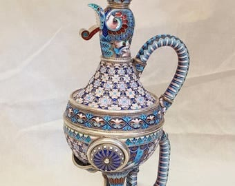 Antique Russian enamel silver 84 decanter Khlebnikov (Хлебников)