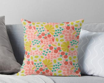 Fun Meadow Throw Pillow|Flowers|Floral|Throw Pillow|Nursery|Baby Girl|