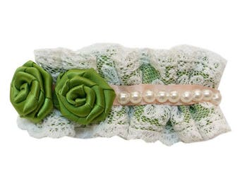 Clip barrette hair clip type fine ecru lace pleated 2 roses in green satin white pearls