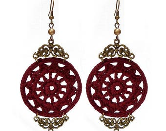 large dangling earrings round with lace and crochet Burgundy Red and golden bronze
